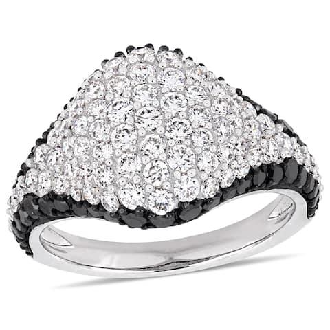 Miadora 14k White Gold with Black Rhodium 2-1/10ct TDW Black & White Diamond Cluster Ring