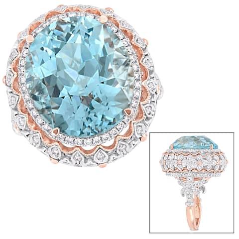 Miadora 2-Tone 14k White and Rose Gold Sky-Blue Topaz 1-1/3ct TDW Diamond Milgrain Halo Ring
