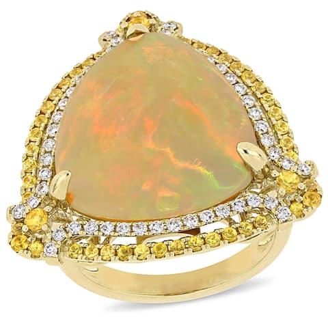 Miadora 14k Yellow Gold Ethiopian Opal Yellow Sapphire 3/8ct TDW Diamond Cocktail Ring