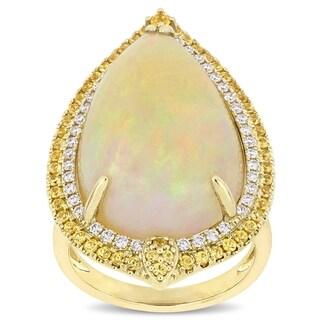 Miadora 14k Yellow Gold Ethiopian Opal Yellow Sapphire 1/3ct TDW Diamond Cocktail Ring