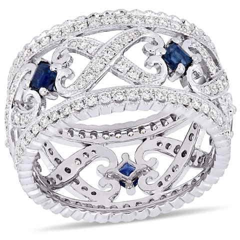 Miadora 14k White Gold Sapphire and 7/8ct TDW Diamond Milgrain Anniversary Band