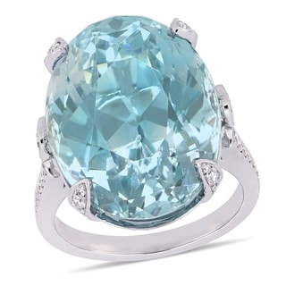 Miadora 14k White Gold 28-3/4ct TGW Natural Sky-Blue Topaz and 1/2ct TDW Diamond Ring