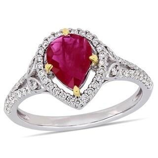 Miadora 14k 2-Tone White and Yellow Gold Ruby 1/3ct TDW Diamond Halo  Ring