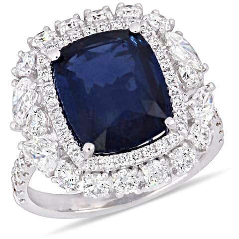 Miadora 14k White Gold Blue Sapphire and 2ct TDW Diamond Halo Ring