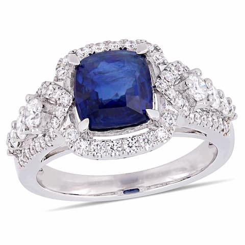 Miadora 14k White Gold Blue Sapphire and 3/4ct TDW Diamond Halo Engagement Ring