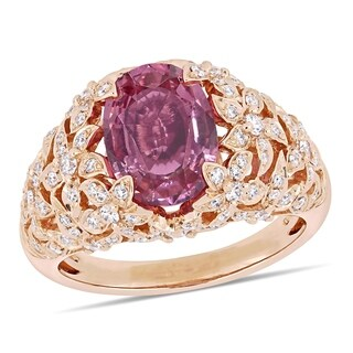 Miadora 14k Rose Gold Pink Spinel and 1/10ct TDW Diamond Floral Cocktail Ring