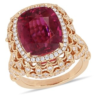 Miadora 14k Rose Gold Pink Tourmaline and 1-1/7ct TDW Diamond Halo Cocktail Ring