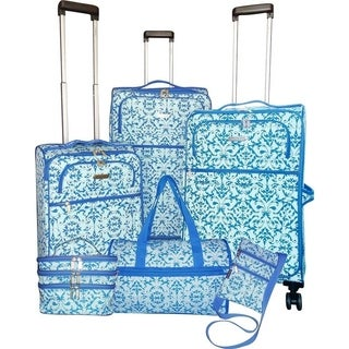 Karriage-Mate Blue Rocco Medallion 6-piece Expandable Spinner Luggage Set - N/A