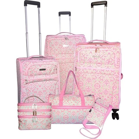 Karriage-Mate Pink Rocco Medallion 6-piece Expandable Spinner Luggage Set - N/A