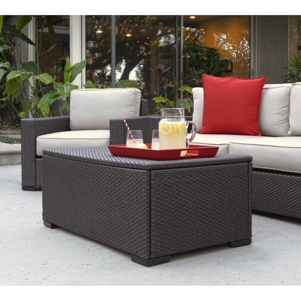 Brown Rattan Coffee Table Outdoor: Shop Serta Laguna Outdoor Storage Coffee Table