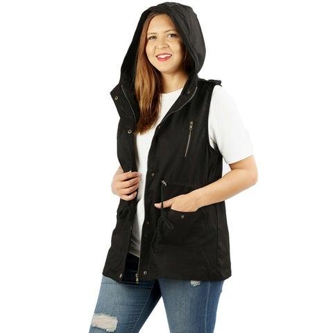 JED Women's Plus Size Cotton Safari Hooded Vest