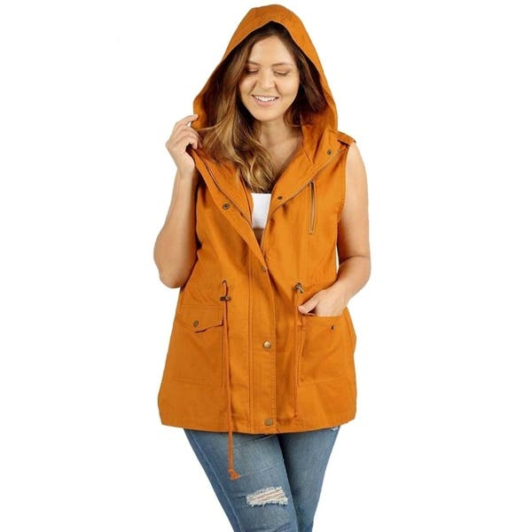 c5a35a182131 Shop JED Women's Plus Size Cotton Safari Hooded Vest - On Sale ...