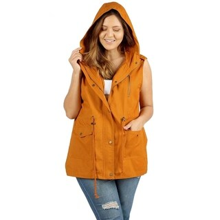 JED Women's Plus Size Cotton Safari Hooded Vest
