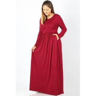 JED Women's Plus Size Long Sleeve Solid Stretchy Knit Maxi Dress