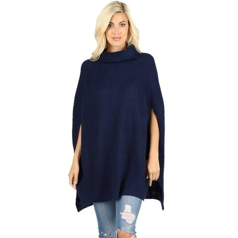 JED Women's Chunky Turtleneck Cape Poncho Sweater