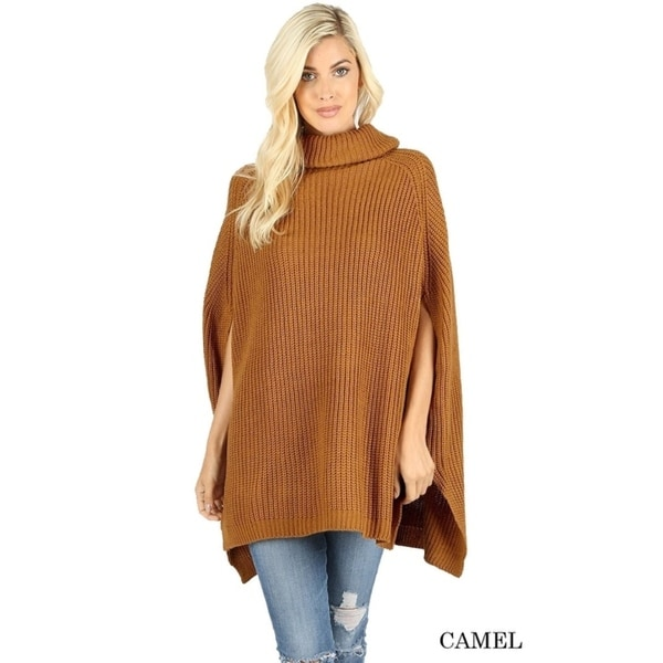 JED Women's Chunky Turtleneck Cape Poncho Sweater. Opens flyout.