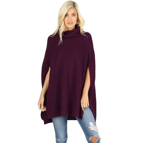 JED Women's Chunky Turtleneck Cape Poncho Sweater