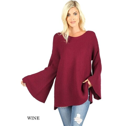JED Women's Bell Sleeve Relax Fit Knit Tunic Sweater Top