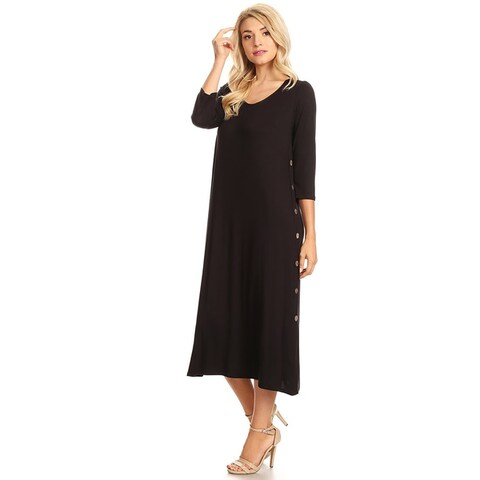 Women's Casual Solid Dress with Button Trim Side