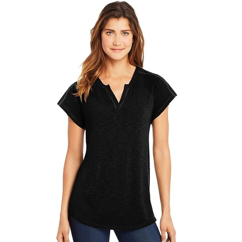 Hanes womens Peasant Henley Top (O9355)