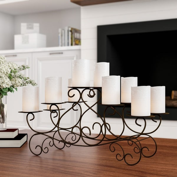 10 Candle Candelabra with Swirl Design- Handcrafted Iron Candle Holder/Centerpiece Lavish Home (Brown)