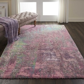 Nourison Abstract Shag Pink Hand Tufted Area Rug - 5' x 7'