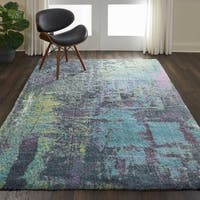 """Nourison Abstract Shag Teal Hand Tufted Area Rug - 7'6"""" x 9'6"""""""