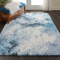 """Nourison Abstract Shag Blue Multicolor Hand Tufted Area Rug - 7'6"""" x 9'6"""""""