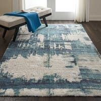 Nourison Abstract Shag Blue Hand Tufted Area Rug - 5' x 7'