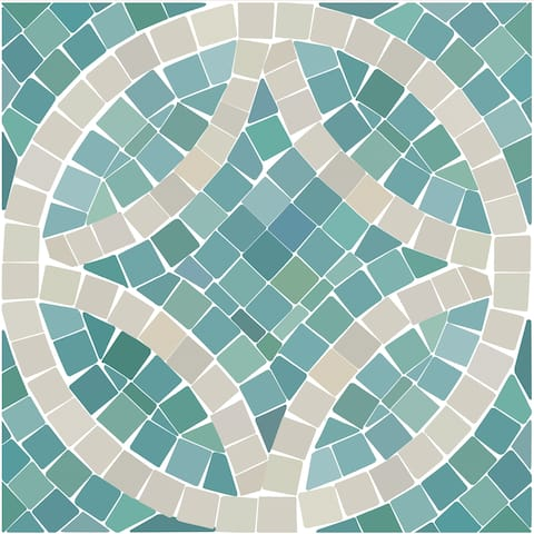 "Con-Tact Brand Floor Adorn Adhesive Decorative and Removable Vinyl Floor Tiles, Seaglass Mosaic, 12""x12"", Set of 36 Tiles"