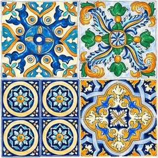 """Con-Tact Brand Floor Adorn Adhesive Decorative and Removable Vinyl Floor Tiles, Mexican Tile, 12""""x12"""", Set of 36 Tiles"""