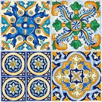 "Con-Tact Brand Floor Adorn Adhesive Decorative and Removable Vinyl Floor Tiles, Mexican Tile, 12""x12"", Set of 6 in Pack of 6"