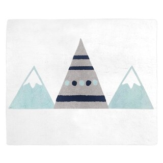Sweet Jojo Designs Grey and Aqua Mountains Collection Accent Floor Rug (2.5' x 3')