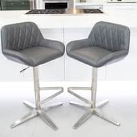 MIX Brushed Stainless Steel High-Back Adjustable Height Swivel X Base Bar Stool