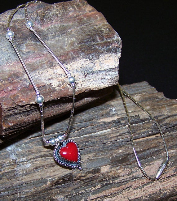 Handcrafted Coral Red Heart Necklace (India)