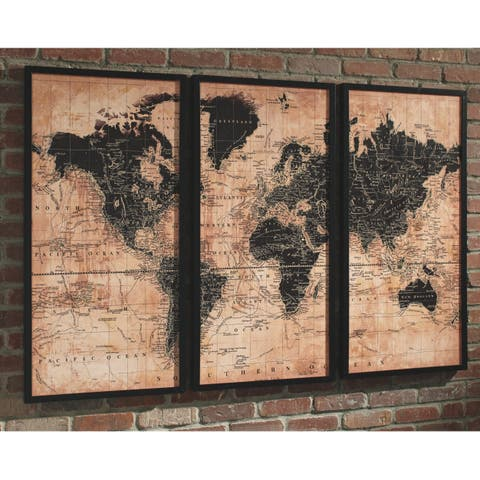 Pollyanna World Map Wall Art - Tan