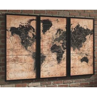 Pollyanna World Map Wall Art - Tan