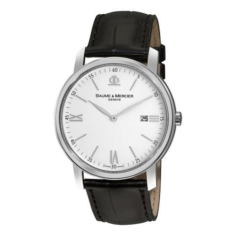 Baume & Mercier Men's MOA08485 'Classima Executives' Black Leather Watch