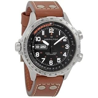 Hamilton Men's H77755533 'Khaki Aviation X-Wind' Automatic Brown Leather Watch