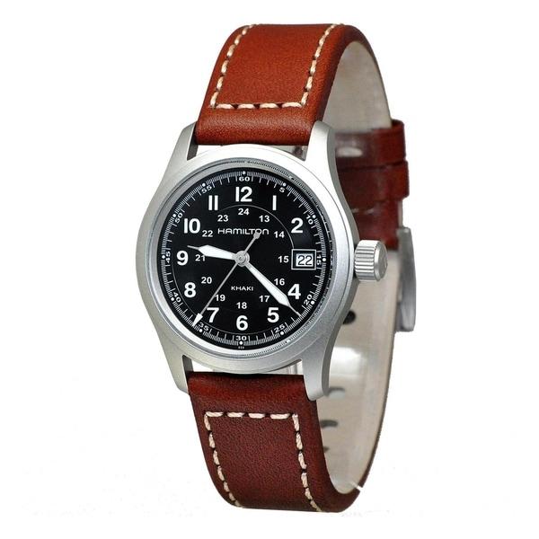 beefdc451 Shop Hamilton Khaki Field Quartz Brown Leather Strap Men's Watch - Free  Shipping Today - Overstock - 22749075