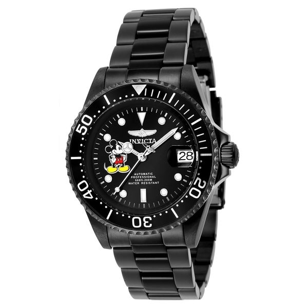 Invicta Men's 24416 'Disney' Mickey Mouse Automatic Black Stainless Steel Watch