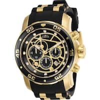 Invicta Men's 25710 'Pro Diver' Scuba Black and Gold-tone Inserts Polyurethane and Stainless Steel Watch