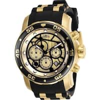Invicta Men's 25709 'Pro Diver' Scuba Black and Gold-tone Inserts Polyurethane and Stainless Steel Watch
