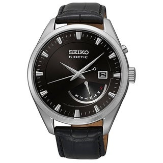 Seiko Men's SRN045P2 'Kinetic' Black Leather Watch