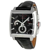 Tag Heuer Men's CAL2110.FC6257 'Monaco LS' Chronograph Automatic Black Leather Watch