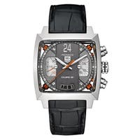 Tag Heuer Men's CAL5112.FC6298 'Monaco' Chronograph Automatic Black Leather Watch