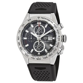 Tag Heuer Men's CAR208Z.FT6046 'Carrera' Chronograph Automatic Black Rubber Watch