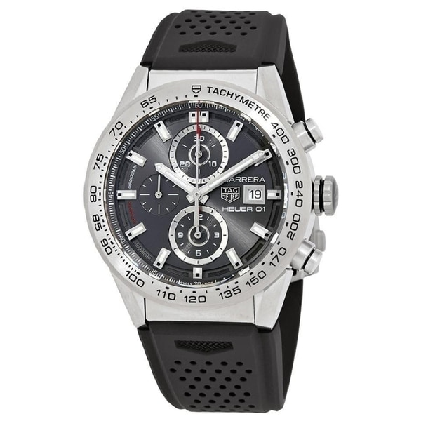 Tag Heuer Men's CAR208Z.FT6046 'Carrera' Chronograph Automatic Black Rubber Watch. Opens flyout.