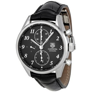 Tag Heuer Men's CAS2110.FC6266 'Carrera' Chronograph Automatic Black Leather Watch