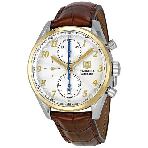 Tag Heuer Men's CAS2150.FC6291 'Carrera Heritage' 18kt yellow gold Chronograph Automatic Brown Leather Watch